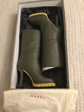 100% Genuine Marni Olive Leather Mid-Calf High Heel Boots Size 39 BNIB
