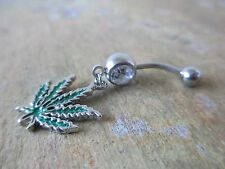 Pot Leaf Medical Marijuana 420 Belly Button Navel Ring Piercing