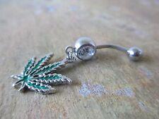 Pot Leaf Medical Marijuana 420 Belly Button Navel Ring Piercing
