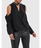 Forever Unique Gywn Black Cold-Shoulder Blouse With Pearl Choker Neckline