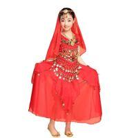Girls Kids Belly Dance Skirt Suit Set Children Bollywood Indian Carnival Costume