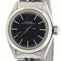 Ladies Rolex Stainless Steel Oyster Perpetual No-Date Watch Jubilee Black 6718