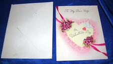VTG GOLDEN BELL UNUSED 1940'S EMBOSSED VALENTINE TO MY DEAR WIFE, W ENVELOPE
