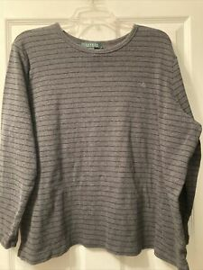Lauren Ralph Lauren 3X Grey & Black Stripe Long Sleeve Jersey Knit Top 100% Cott