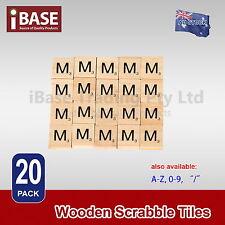 20 Wooden Alphabet Scrabble Tiles Scrapbooking Handcraft Letter set Complete