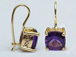 E129 Genuine 9ct Gold Natural Cushion-cut Amethyst Drop Earrings with closure