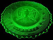 Green Vaseline Eagle Liberty glass cup plate uranium canary tea saucer childs nr