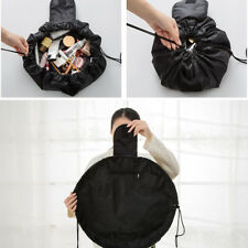 Women Drawstring Travel Portable Lazy Cosmetic Bags Polyester Makeup Pouch Black