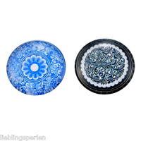 10 Mix Charm Blumen Rund Glascabochons Klebeperlen Klebesteine 25mm