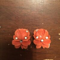 Vintage Faux Carved Coral Roses with Rhinestones Clip On Earrings