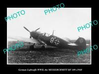 OLD POSTCARD SIZE PHOTO GERMAN LUFTWAFFE AIRCRAFT, MESSERCHMITT BF 109 c1940