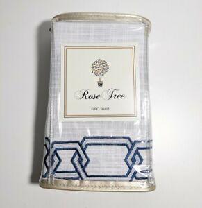 Rose Tree Ardenelle Euro Sham NEW Blue Embroidered White Geometric Border