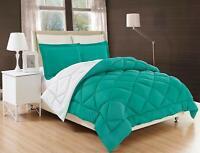 3 Piece Reversible Comforter Set Down Alternative Turquoise / White All-Comfort™