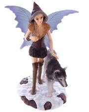 Dekofigur Natasha Faulkner Stehende Schneefee mit Wolf Figur Statue Fabelwesen