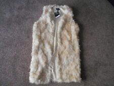 WOMEN'S STUNNING TOP SHOP NATURAL FAUX FUR LONG GILET UK 10 NEW WITH TAG RRP £70