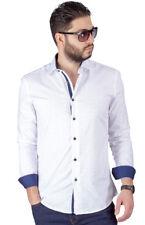 Slim Fit Men's Dress Shirt Bow Tie Print Contrast Trim Details Cotton AZAR MAN