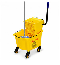 Commercial Mop Bucket Side Press Wringer on Wheels Cleaning 26 Quart Yellow New