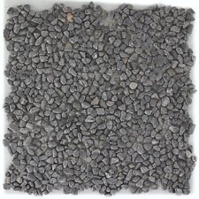 Naturstein Flusskiesel schwarz anthrazit Fliesenspiegel Wand 1 Matte ES-48038_b