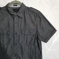 Guess Men's Black Chambray Short Sleeve Epaulet Western Shirt   Size S