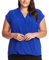 Vince Camuto Women's Blouse Blue 3X Plus Textured Surplice Notch Collar $89 #451