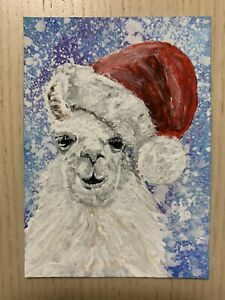 Original ACEO Acrylic Painting, Santa Llama, Realism, Expressionism By ELM