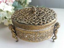 Vintage Footed Gold Filigree Ormolu Trinket Box Powder Cherubs Glass Insert Lid