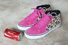Supreme X Vans Sk8 Mid Velvet Leopard Magenta pink size 8.5