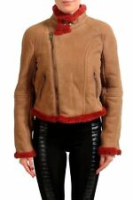 Just Cavalli Women's Light Brown Full Zip Shearling Jacket Coat US S IT 40