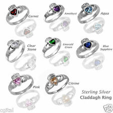 Heart Birth Stone Sterling Silver Claddagh Ring