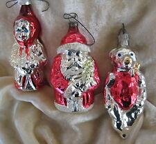 3 VINTAGE CHRISTMAS ORNAMENTS Blown Glass Santa, Bear, Girl Child W. GERMANY