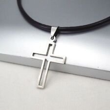 Silver Gothic Celtic Hollow Cross Pendant 3mm Black Leather Ethnic Necklace NEW