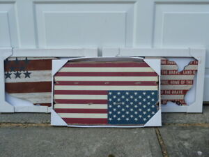 NEW* fantastic 3x Americana large wooden flags and map wall art
