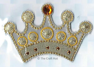 Iron or Sew On Motif Craft Factory Patch Gem Gold Crown Royalty 8cm x 5cm New