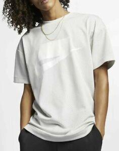 $60 NEW Nike NSW Sportswear Mesh Short Sleeve Loose Fit Shirt 928627 072 Bone