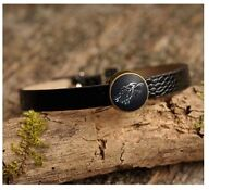 Game of Thrones Leather Bracelet - House of Stark Black Wolf Glass Cabochon Gift