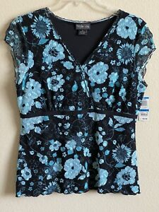 Style & Co Macy's Top Daisy Flower Aqua Teal Black Lace XL NEW with TAG