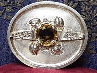 Herrliche antike 800 Silber Brosche Schmiede-Handarbeit großer Citrin A 262