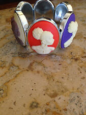 SO CHIC AFRICAN AMERICAN BLACK LADY MULTI COLOR CAMEO BRACELET!