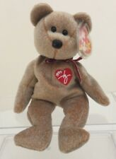 Ty Beanie Babies 1999 Signature Plush Tan Brown Bear Red Heart P.E. pellets