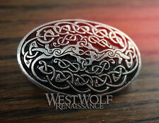Celtic Tree of Life Oval Brooch - Viking/Yggdrasil/Knotted/Silver/Coat/Cloak Pin