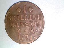Denmark 1771 K.M. 1 Skilling. KM#616.1. Nice!