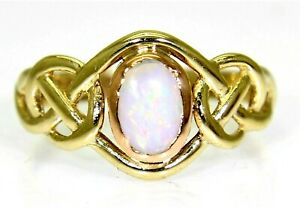 Clogau Celtic Opal 9ct Yellow & Rose Welsh Gold ring size M ~ 6 1/4