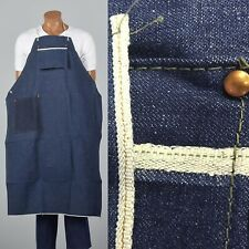 1950s Apron Selvedge Denim Workwear Industrial Work Smock Cotton Vtg Gift Nos