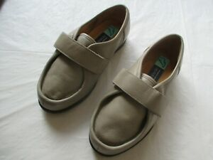 Ladies Cosyfeet Extra Room Wide Fit Grey Leather Shoes Adjustable Strap Size 3.5