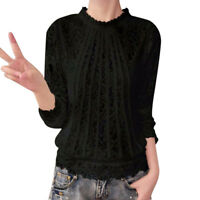 AU Plus Size Womens Chiffon Long Sleeve O Neck Lace Casual Tops Blouse T-Shirts