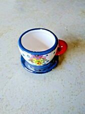Me Ink Mary Engelbreit Miniature Tea Cup/Saucer Red White Blue 2 in. high