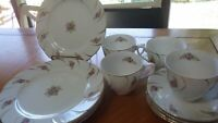 Dessert Set Dessert plates cups and saucer sets 12 piece set floral design gold