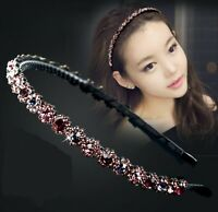 Women Purple Crystal beads Rhinestone Hair Head Band Headband Hairband Hoop