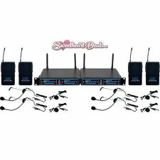 NEW VocoPro UDHPLAY4 4-Channel Wireless Lavalier Microphone Package