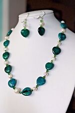 Beautiful AZURITE Heart Shaped Gem & White CULTURED PEARL Necklace & Earring Set